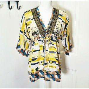 Johnny Was Silk Tunic XS Top Embroidery 3/4 Sleeve